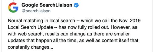 Nov. 2019 Local Search Update